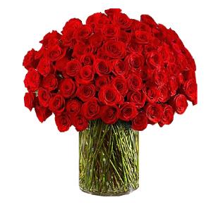 แจกันดอกกุหลาบวาเลนไทน์สีแดง